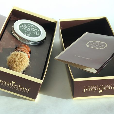 Luxury Gift Set with Irish Stout & Seaweed Shaving Soap and  Solid Wood Brush