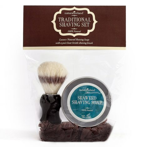 Shaving Gift Set with Seaweed Shaving Soap & Pure Boar Brush