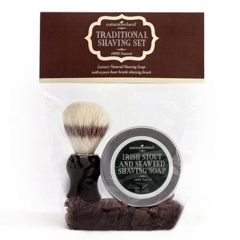 Shaving Gift Set with Irish Stout & Seaweed Shaving Soap & Pure Boar Brush