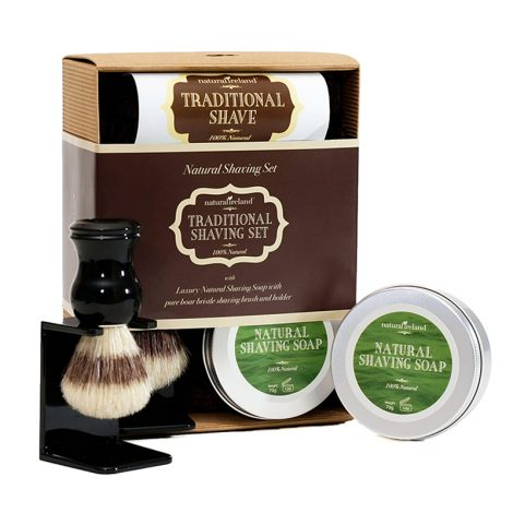 Shaving Gift Set with Natural Shaving Soap & Boar Brush and Stand
