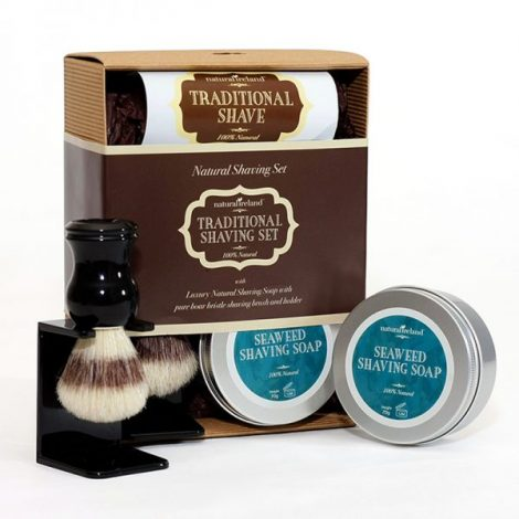 Shaving Gift Set with Seaweed Shaving Soap & Pure Boar Brush and Stand