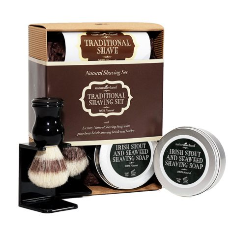 Shaving Gift Set with Irish Stout & Seaweed Shaving Soap & Boar Bristle Brush and Stand