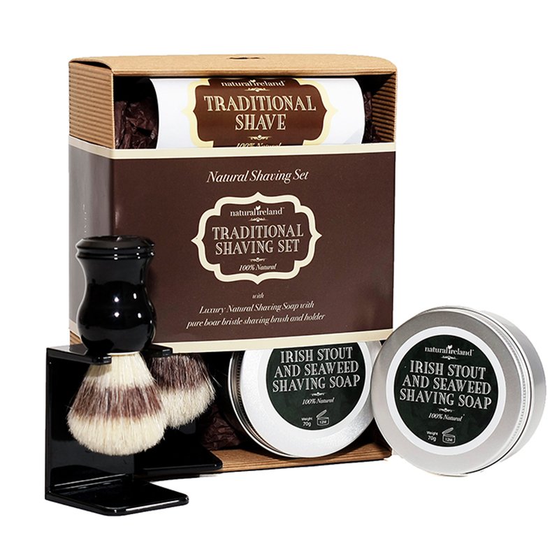 Luxury Shaving Gift Set with Pure Boar Bristle Brush & Stand